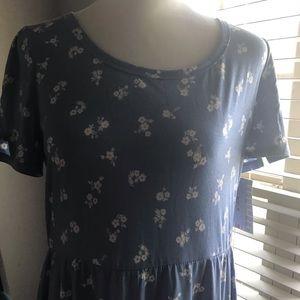 Lularoe Riley dress in a dusty cornflower blue.